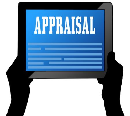 APPRAISAL on tablet screen, held by two hands. Illustration Stock Photo