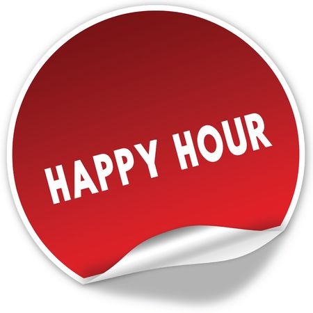 HAPPY HOUR text on realistic red sticker on white background. Illustration