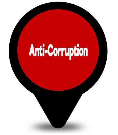 ANTI CORRUPTION on red location pointer illustration graphic Foto de archivo