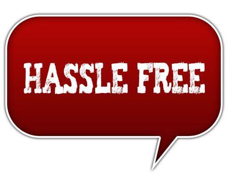HASSLE FREE on red speech bubble balloon. Illustration Stock Photo