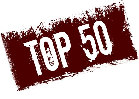 TOP 50 on red retro distressed background. Illustration image Stock Photo