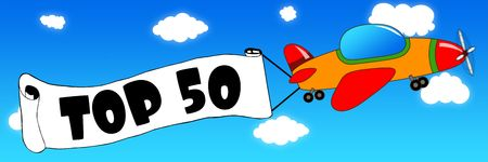 Cartoon aeroplane and banner with TOP 50 text on a blue sky background. Illustration concept.