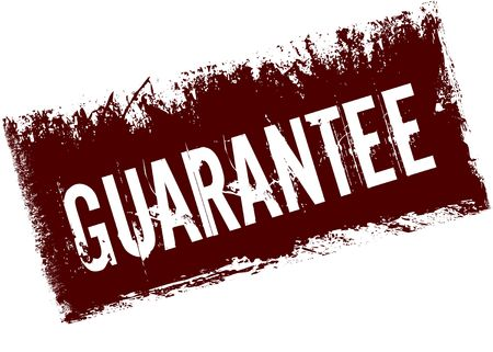 GUARANTEE on red retro distressed background. Illustration image