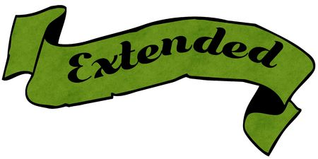 EXTENDED green ribbon. Illustration graphic concept image