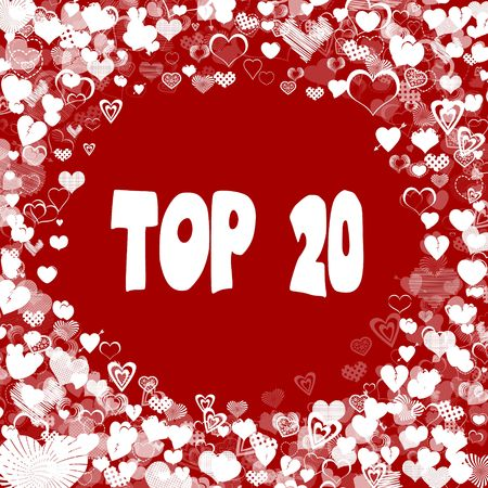 Hearts frame with TOP 20 text on red background. Illustration