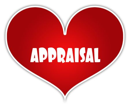 APPRAISAL on red heart sticker label. Illustration concept Stock Photo