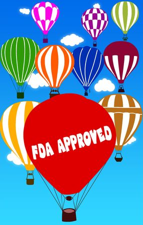 FDA APPROVED written on hot air balloon with a blue sky background. Illustration