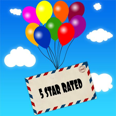 Envelope with 5 STAR RATED message attached to multicoloured balloons on blue sky and clouds background. Illustration Stock Photo