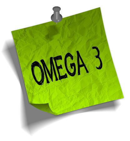 Green note paper with OMEGA 3 message and push pin graphic illustration.
