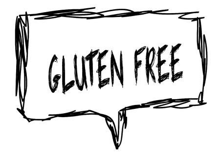 GLUTEN FREE on a pencil sketched sign. Illustration graphic concept.