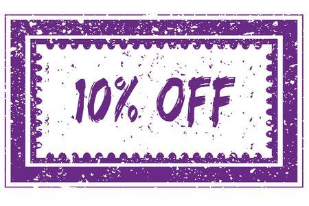 10 PERCENT OFF in magenta grunge square frame stamp. illustration image