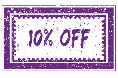 10 PERCENT OFF in magenta grunge square frame stamp. illustration image