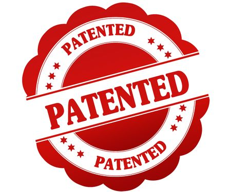 PATENTED red round rubber stamp. Illustration graphic concept
