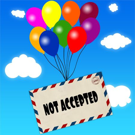 Envelope with NOT ACCEPTED message attached to multicoloured balloons on blue sky and clouds background. Illustration Stock Photo