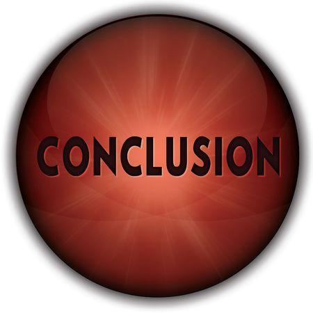 CONCLUSIE rode knop badge. Illustratie afbeelding concept Stockfoto