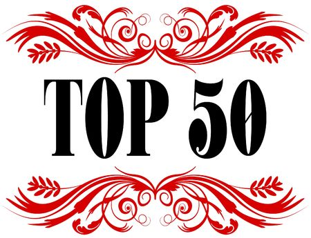 TOP 50 red floral text frame. Illustration concept Stock Photo