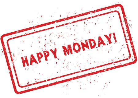Red HAPPY MONDAY   rubber stamp. Illustration graphic image concept