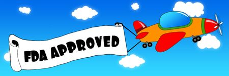 Cartoon aeroplane and banner with FDA APPROVED text on a blue sky background. Illustration concept.