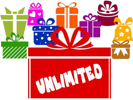 Gift boxes with UNLIMITED text. Illustration image concept
