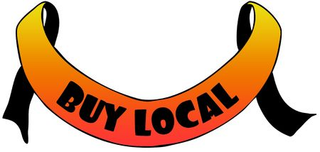 Orange ribbon withBUY LOCAL text. Illustration concept image