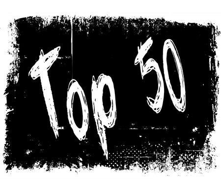 TOP 50 on black grunge background. Illustration image concept
