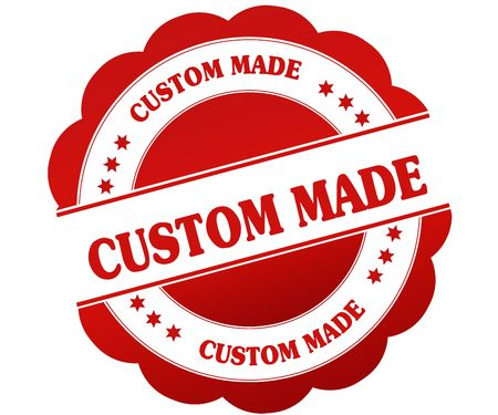 CUSTOM MADE red round rubber stamp. Illustration graphic concept