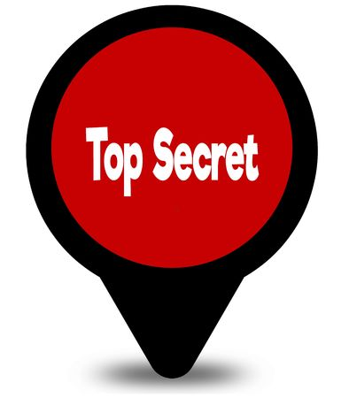 TOP SECRET on red location pointer illustration graphic Stock Photo