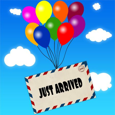 Envelope with JUST ARRIVED message attached to multicoloured balloons on blue sky and clouds background. Illustration Stock Photo