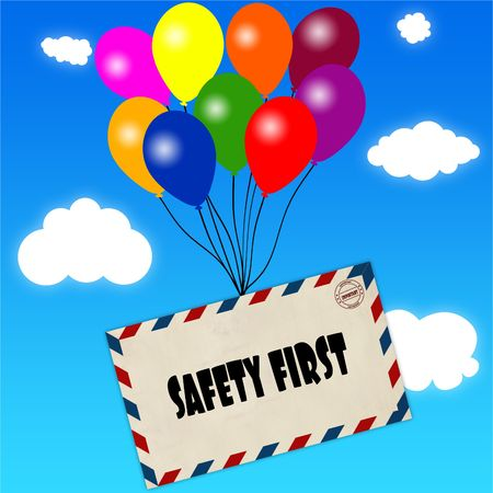Envelope with SAFETY FIRST message attached to multicoloured balloons on blue sky and clouds background. Illustration