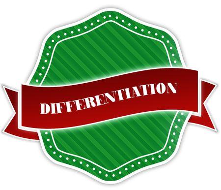 Groene badge met DIFFERENTIATION tekst op rood lint. Illustratie