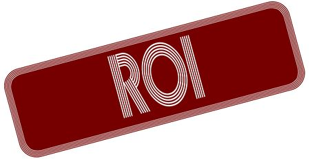 ROI on red label. Illustration graphic concept image