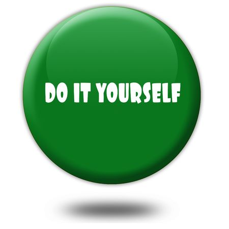 DOE HET ZELF op de groene 3D-knop. Afbeelding van het illustratie grafische ontwerpconcept