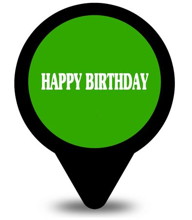Dark Blue Word Balloon With Happy Birthday Text Message Flowers
