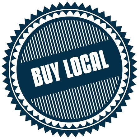 Round BUY LOCAL blue sticker. Illustration image concept Stock Photo