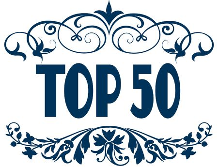 TOP 50 blue text frames. Illustration concept image Stock Photo