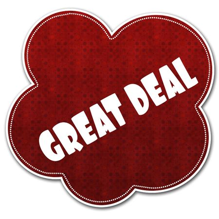 Red pattern cloud with GREAT DEAL text written on it illustration.