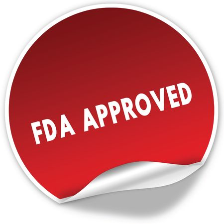 FDA APPROVED text on realistic red sticker on white background. Illustration