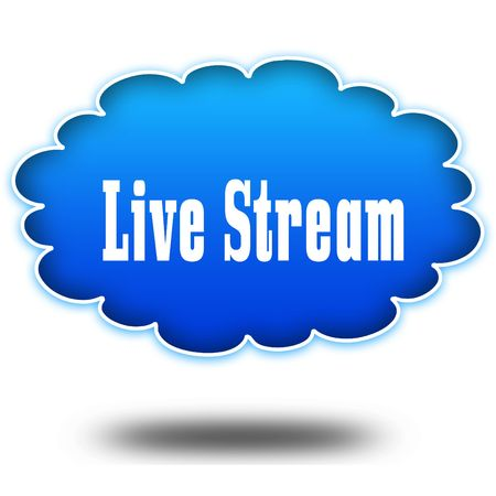 LIVE STREAM text message on hovering blue cloud. Illustration