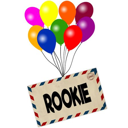 ROOKIE on envelope pulled by coloured balloons isolated on white background. Illustration