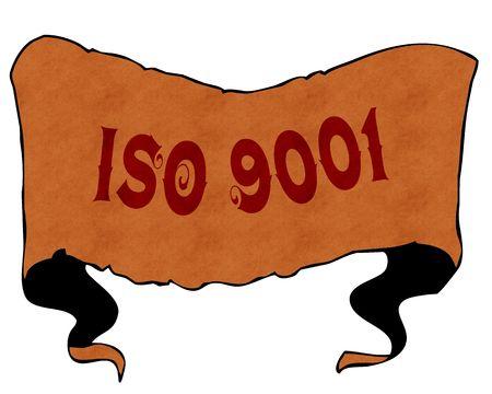 ISO 9001 written with vintage font on cartoon vintage ribbon. Illustration