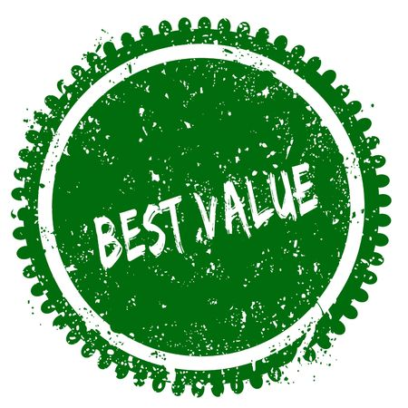 BEST VALUE round grunge green stamp. Illustration concept Stock Photo