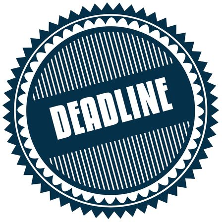 Round DEADLINE blue sticker. Illustration image concept