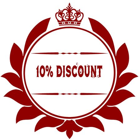 Old 10 PERCENT DISCOUNT red seal. Illustration graphic image concept