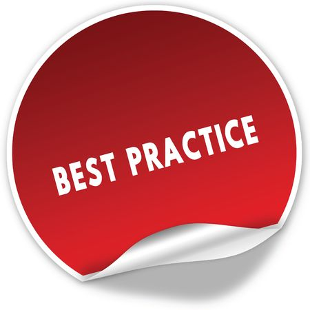 BEST PRACTICE text on realistic red sticker on white background. Illustration