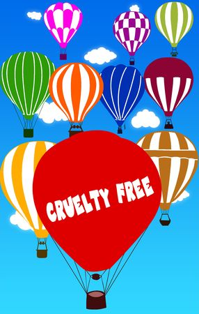 CRUELTY FREE written on hot air balloon with a blue sky background. Illustration