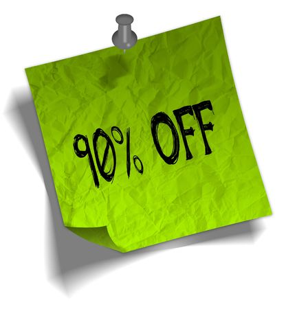 Green note paper with 90 PERCENT OFF message and push pin graphic illustration. Stock Photo