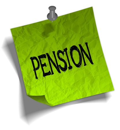 Green note paper with PENSION message and push pin graphic illustration.