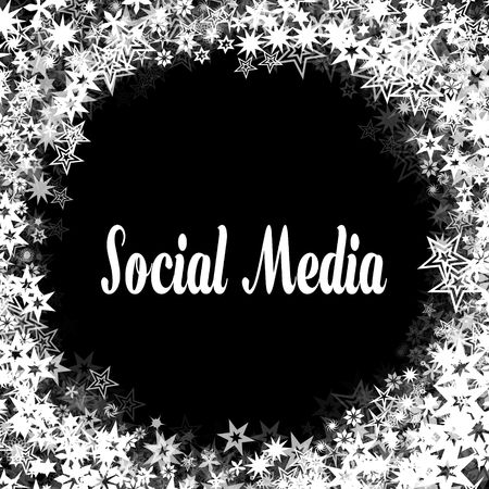 SOCIAL MEDIA On Black Background With Different White Stars Frame