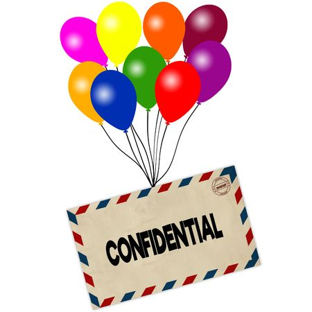CONFIDENTIAL on envelope pulled by coloured balloons isolated on white background. Illustration Stock Photo