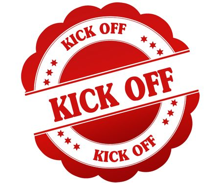 KICK OFF red round rubber stamp. Illustration graphic concept Foto de archivo